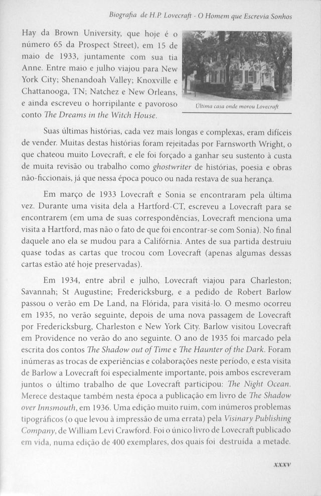 O Mundo Fantástico de H. P. Lovecraft Biography Page xxxv with Will Hart Photo