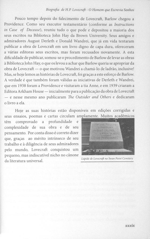 O Mundo Fantástico de H. P. Lovecraft - Biography Page xxxix with Will Hart Photo