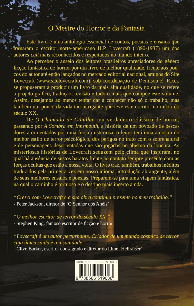 O Mundo Fantástico de H. P. Lovecraft – The Rear Cover