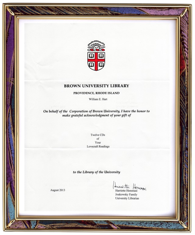 Brown University Lovecraft CD's Acknowledgment Received 08-Nov-2013